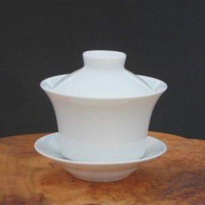 白玉三件式小蓋杯