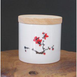 木蓋白瓷紅梅茶倉